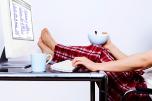 Computer - Lady in Pajamas Working from home