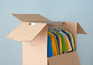 Packing clothes in a wardrobe box