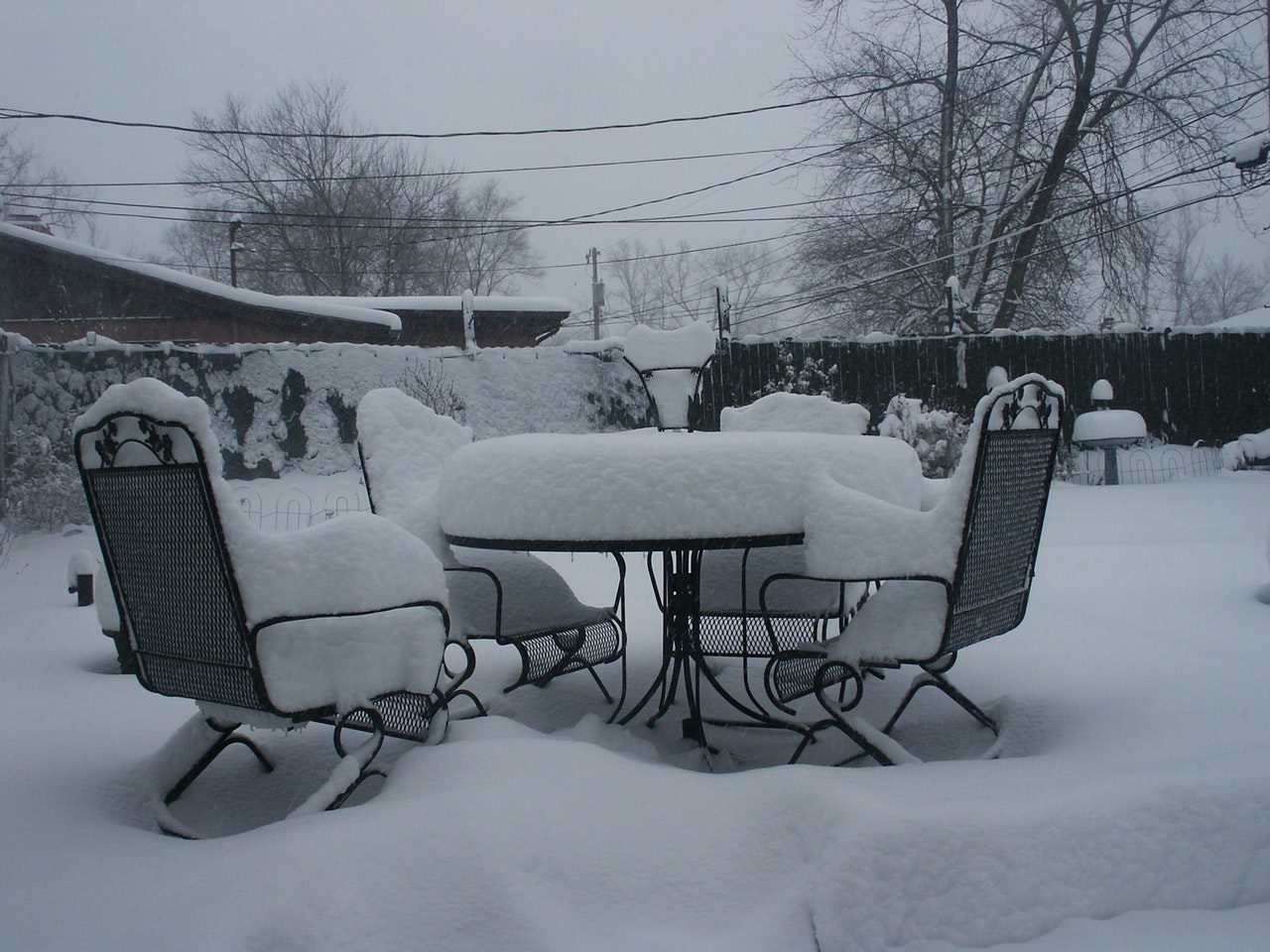 Outdoor furniture in winter