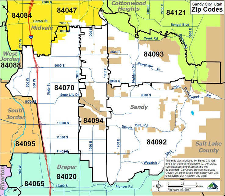 Sandy city zipcode map