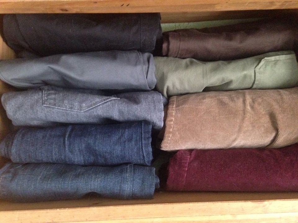 pants drawer folded in the Marie Kondo style