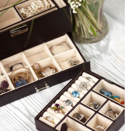 jewelry pieces stored separately in a jewelry box