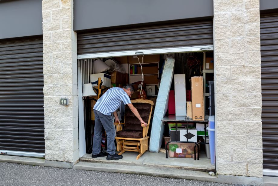 customer managing home goods in their own self-storage units