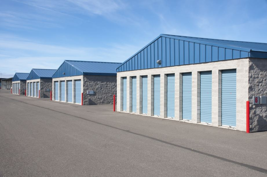 row of storage units in a self-storage complex