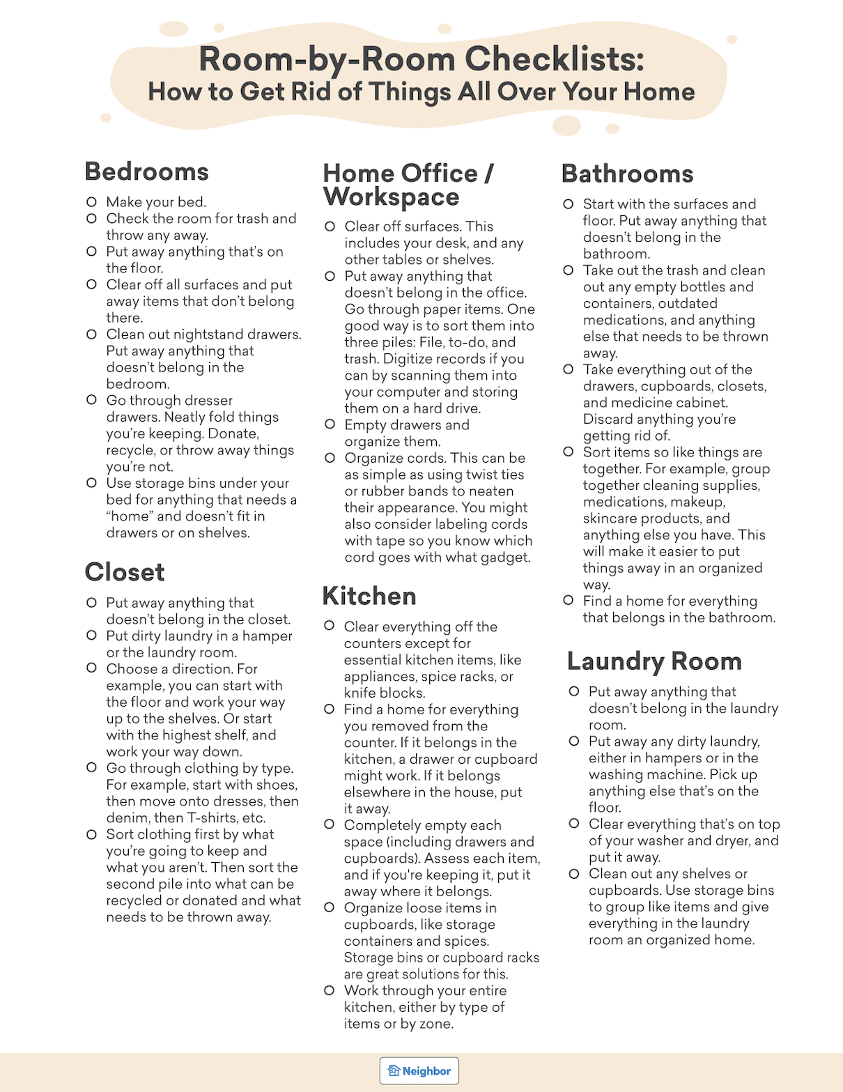 How to Get Rid of Things All Over Your Home Checklist