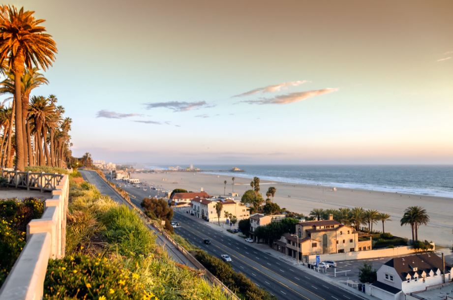 view of the Pacific Coast Highway at sunset
