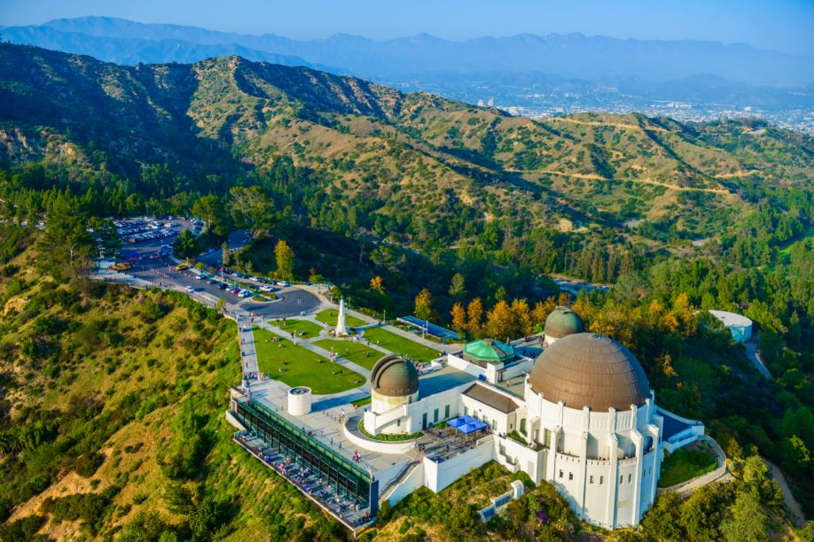 bird's eye view of Griffith Observatory and the surrounding area