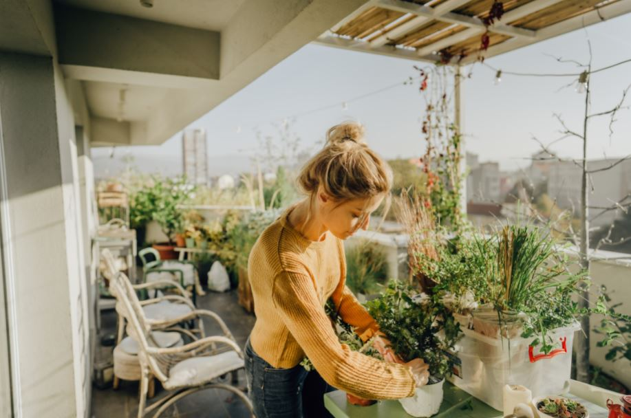 woman tending to plants in her patio urban garden in Los Angeles
