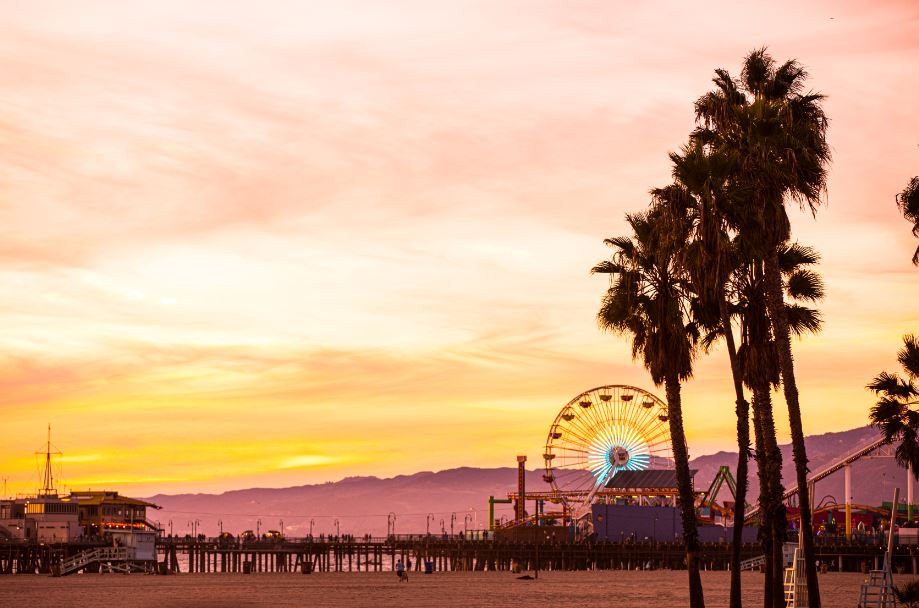 Santa Monica Beach and the pier at sunset