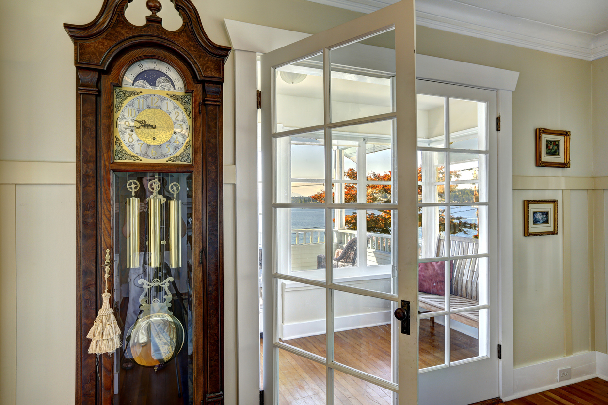 a grandfather clock placed in a new home