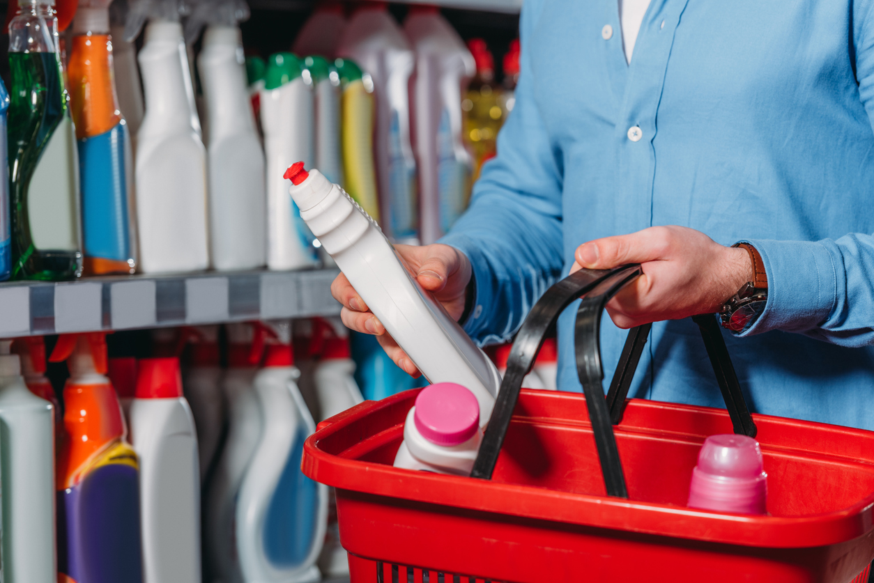 New homeowner buying essential cleaning supplies