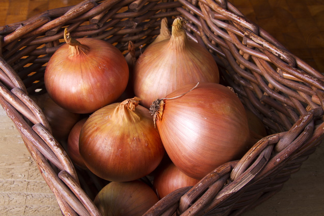 How to store onions (bulb onions) in a ventilated basket