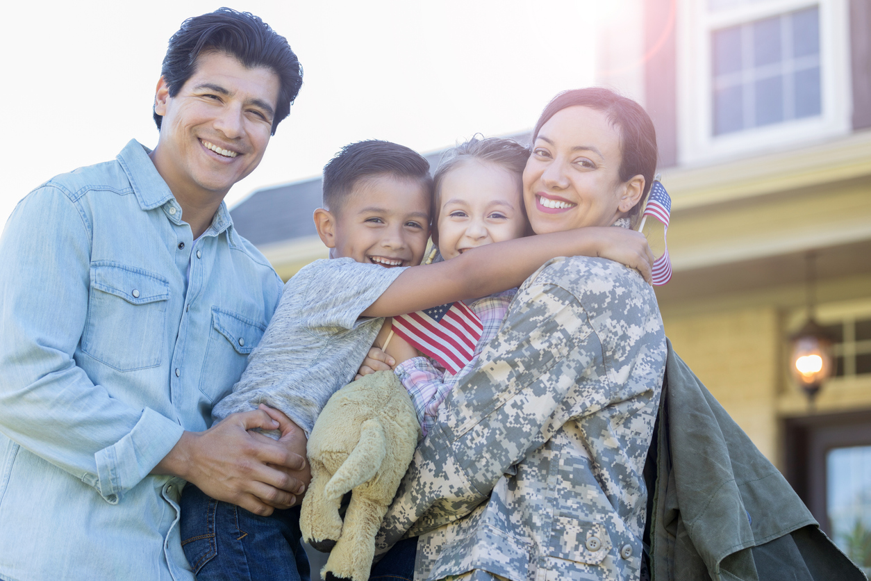 Military family moving to a new home