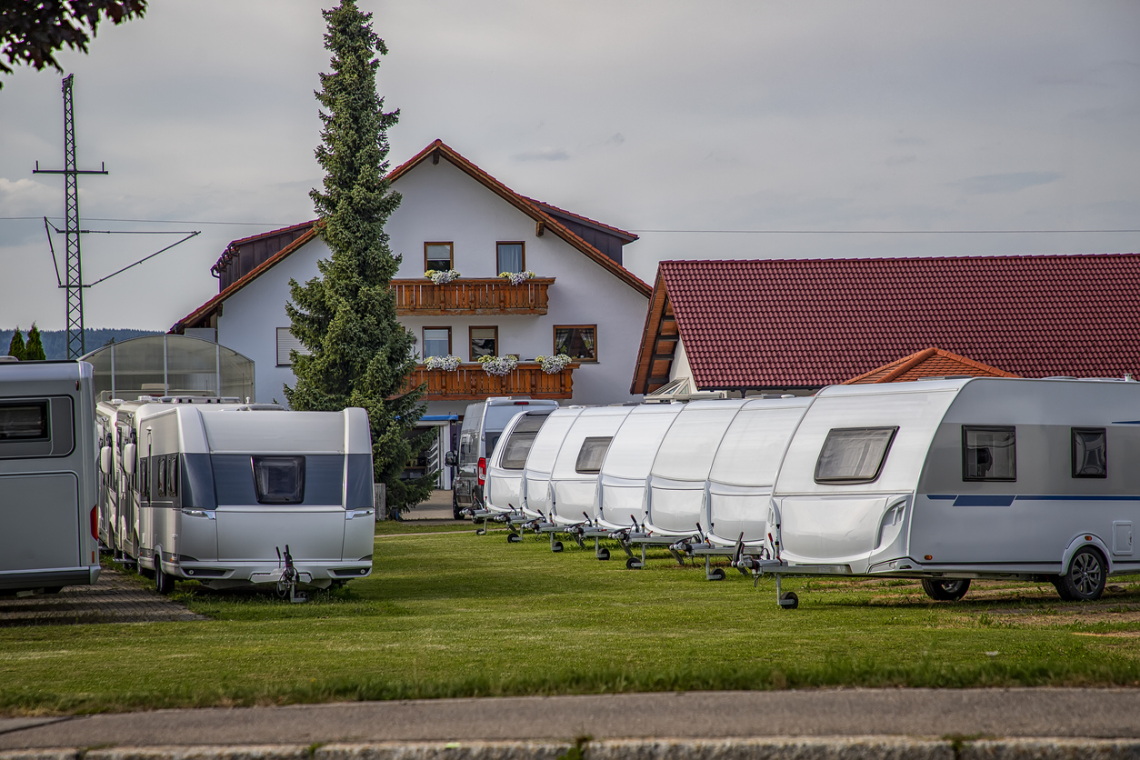 RVs stored in an open lot