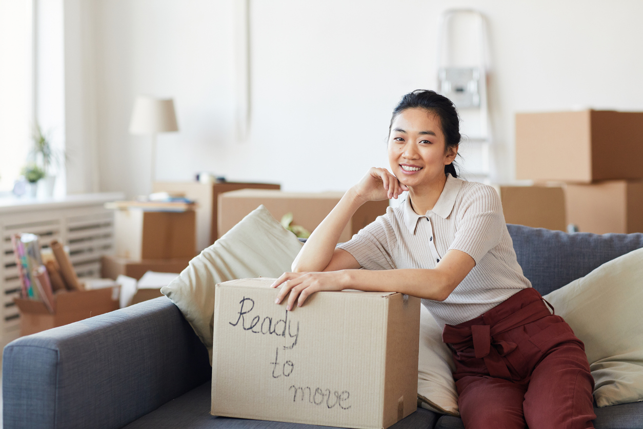 Woman organized and ready for her college move-out day